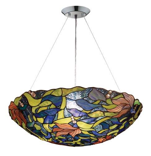 - Elk 70010-3 Impressionist 3-Light Pendant, Polished Chrome, 7-Inch H By 26-Inch W