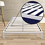 Best Price Mattress California King Bed Frame - 14 Inch Metal Platform Beds [Model C] w/ Steel Slat Support (No Box Spring Needed), White