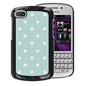 A-type Arte & diseño plástico duro Fundas Cover Cubre Hard Case Cover para BlackBerry Q10 (Polka Dot Vintage Rustic Blue Baby Pattern)