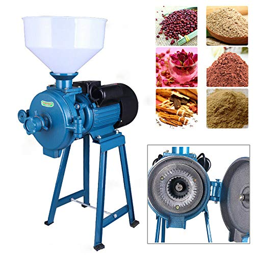 1500W 110V Electric Feed/Flour Mill Dry Cereals Grinder Machine + Funnel Rice Corn Grain Bean Coffee Wheat Feed Mill Wet Dry Cereals USA STOCK