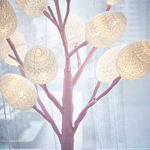 Hairui Pre Lit Easter Egg Tree 12LED 18IN Pastel Pink Tree with Multicolor Eggs, Cute Lighted Egg Tree for Childrens Room Office Decoration Battery Operated by Hairui (Image #3)