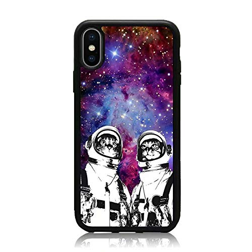 iPhone X Case, [Astronaut Cat Galaxy Space Nebula Series] Print Soft TPU & Hard Back Shock Absorption Scratch Proof Slim Protective Case Cover for iPhone X