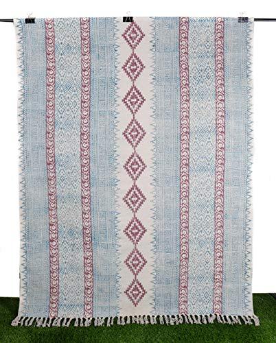 Traditional Cotton Dari Area Rug Mat Ethnic Dari Geometric Design Dhurrie Hand Woven Rug Hallway Carpet Stylish Runner Floor Rug 4x6ft Multi Color