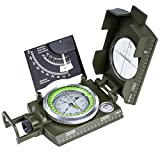 Oriketech Compass Waterproof Mini Compass with Inclinometer Multifunction Military and Pouch Lanyard Metal Army Sighting Compass for Outdoor Camping Hiking Compass Walking Biking Army Green