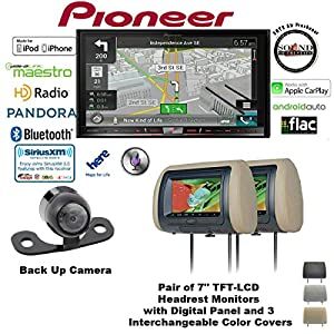 "Pioneer AVIC-8200NEX 7"" Navigation DVD Receiver with Bluetooth, HD Radio, Backup Camera SV-6922.LM.II and TWO Concept CLS700X Headrest Monitors and a FREE SOTS Air Freshener"