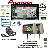 Pioneer AVIC-8200NEX 7 Navigation DVD Receiver with Bluetooth, HD Radio, Backup Camera SV-6922.LM.II and TWO Concept CLS700X Headrest Monitors and a FREE SOTS Air Freshener