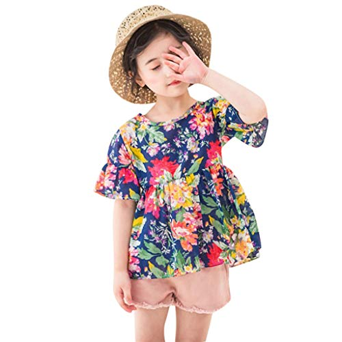 Maidogu Kids Outfit Children's Short-Sleeved Frilled Flower Print Chiffon Blouse, Solid-Colored Short+Two-Piece Suit Set Navy