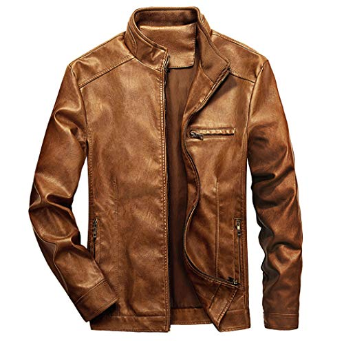 WULFUL Men's Stand Collar Leather Jacket Motorcycle Lightweight Faux Leather Outwear Brown-XL