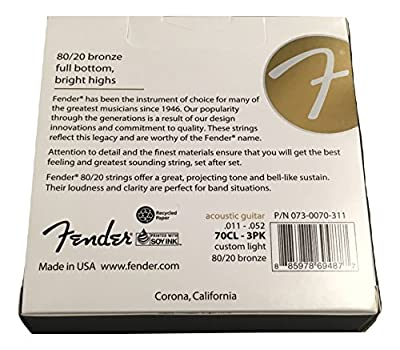 Fender 80/20 Bronze 3-Pack Acoustic Guitar Strings (730070311) from 730070311