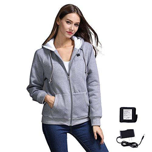 JEMPET Women's Winter Zip Up Super Heated Hoodies Jacket Coat w/Battery(Grey)