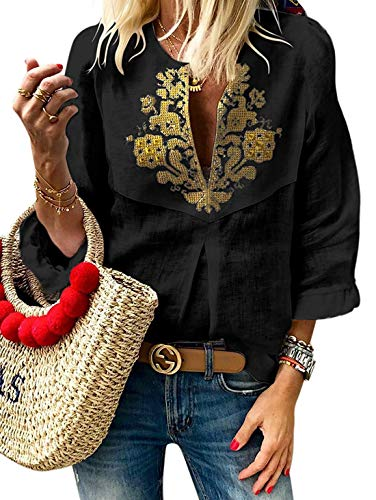 Plus Size Womens 3/4 Frill Sleeve V Neck Boho Embroidered Tops Loose Novelty Blouse Shirt Black XL