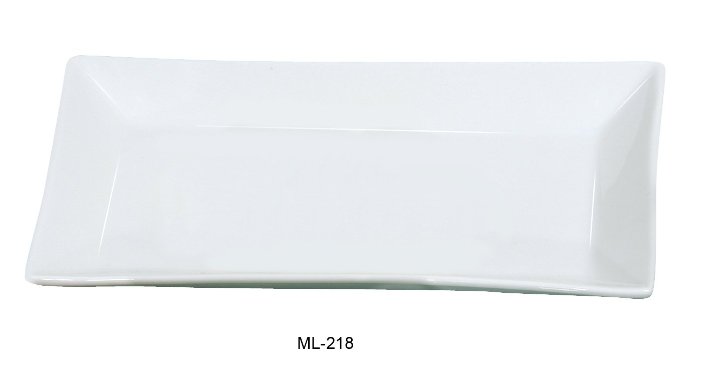 Yanco Mainland Collection 18 X 11'' Super White Porcelain Rectangular Plate BOX of 6