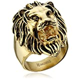 Men's 18kt Gold Plated Stainless Steel Lion Head Ring, Size 9