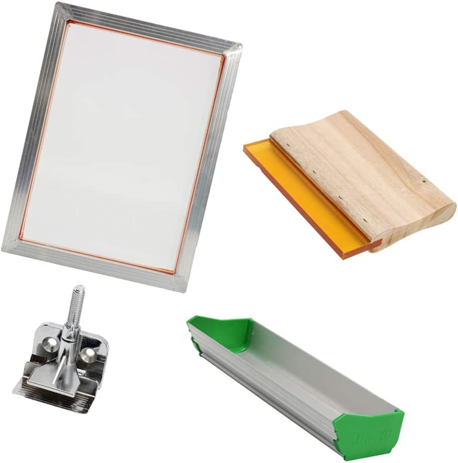 H HILABEE 5Pcs//Set Screen Printing Kit Frame /& Hinge Clamp /& Emulsion Scoop Coater /& Squeegee Heavy Duty for T-Shirt DIY Pattern