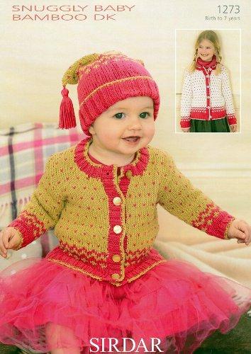 (Sirdar Snuggly Baby Bamboo DK Knitting Pattern 1273 Cardigan & Hat)