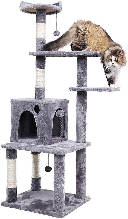 Speedy - Hamaca para gatos con diseño de árbol de gato con rascador y centro de actividades para gatos grandes con gatos de sisal de 145 cm: Amazon.es: Productos para mascotas