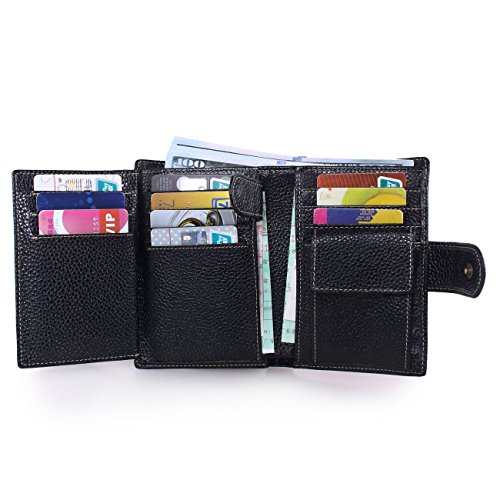 Slots Black 2 Wallets Card Coffee ID Leather Artmi Men's Windows 10 Capacity Extra Trifold zxfx8FwqO