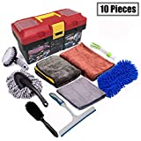 Snow Eagle-L 10Pcs Car Cleaning Tools Kit - Car Wash Tools Kit for Detailing Interiors Premium Microfiber Cleaning Cloth - Car Wash Sponges - Tire Brush - Window Water Blade