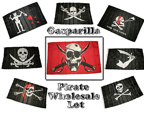 Wholesale Lot of 8 Gasparilla Pirate Calico Brethren Poison Blackbeard Tew Reh Hat Scarf Patch Jolly Roger 3'x5' Polyester (Calico Scarf)