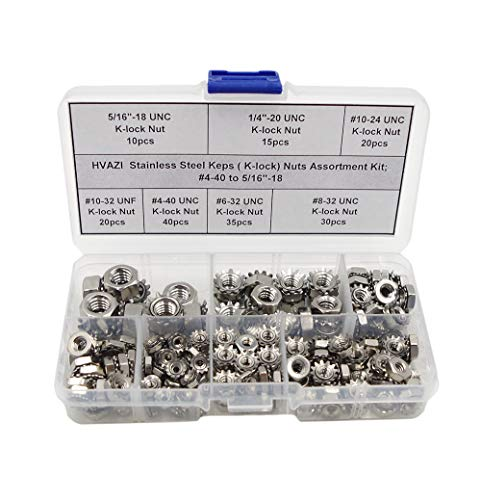 "HVAZI Stainless Steel Keps (K-Lock) Nuts Assortment Kit;#4-40 to 5/16""-18"