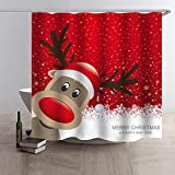 Xmas Shower Curtain Christmas Santa Claus Printed Shower Curtains Elk Waterproof Bath Curtains Home Decor