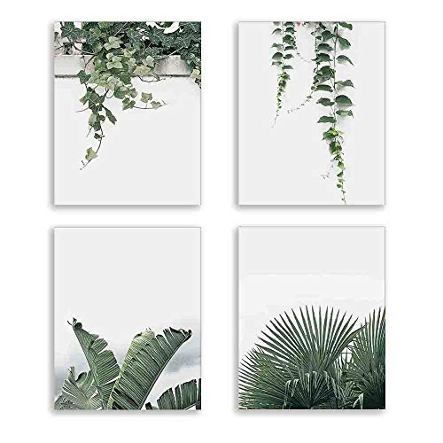 (Green Leaves Plant Wall Art Canvas Print for Bedroom Watercolor Style Plant Wall Decor for Bedroom Living Room Home Decoration Tropical Plant Green Leaves Canvas Painting Set of 4 8X10 inch Unframed)