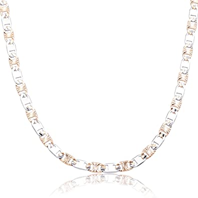 490c2e0c12be2 Double Rainbow Jewelry Mens Stainless Steel Gold Silver 2 Tone 4mm Diamond  Cut Anchor Mariner Long Necklace Chain Link