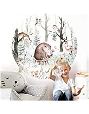 Little Deco Muursticker kinderkamer muurtattoo dieren beer hert 120 cm rond wanddecoratie speelkamer sticker kinderen muursticker wandafbeelding zelfklevend boom DL562