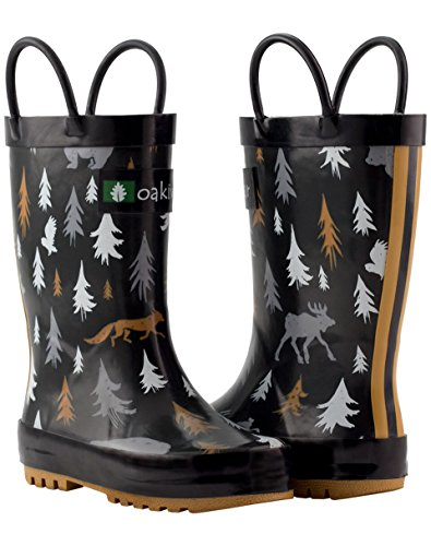 Oakiwear Kids Rubber Rain Boots With Easy-on Handles, Wildlife Tracker, 4Y US Big Kid - Image 9
