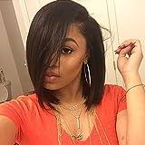Doren Short Bob Human Hair Wigs for Black Women Straight U Part Wig Left Part 1x4 Opening Size Brazilian Virgin Hair Natural Color 8 Inches