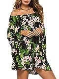 D Jill Women's Summer Off Shoulder Floral Print Long Sleeve Boho Ruffle Mini Dress Beach Dark Green