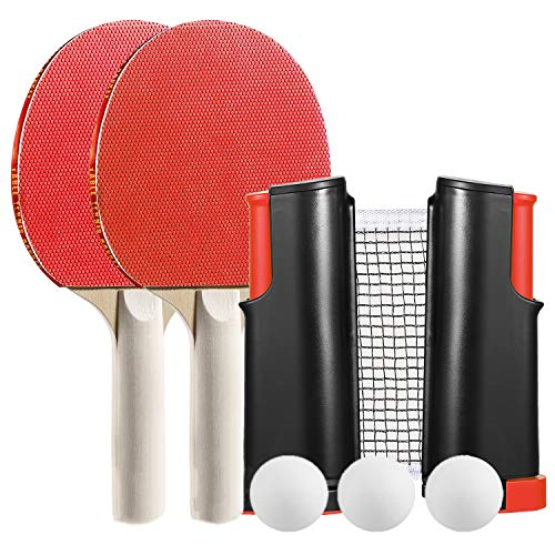 QIANYI Ping Pong Set,Portable Game Table Top Tennis Retractable All-in-one,2 Premium Table Tennis Rackets - 2 Standard Balls, Portable Cover Case Bag … (Red)