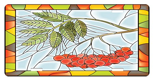 Christmas License Plate by Ambesonne, Rowan Branch Motif on a Stained Glass Frame Noel Season Berries Winter Theme, High Gloss Aluminum Novelty Plate, 5.88 L X 11.88 W Inches, - Glass Motif Stained