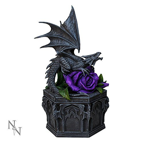 7.25 Inch Dragon Beauty with Purple Rose Jewelry/Trinket Box Figurine