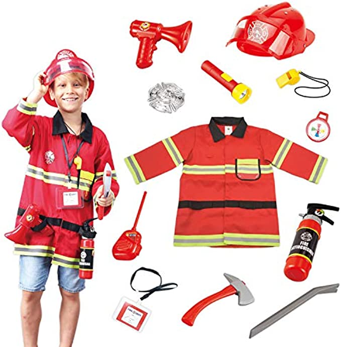 Wesprex Fireman Role Pretend Play Costume Dress-Up Set for Kids Children Boys and Girls with Complete Firefighter Access
