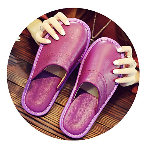 Spring TELLW Summer Cowhide Autumn Corium Purple for Floor Smelly Anti Men Slippers Leather W Women Wooden qwT1wgxnH