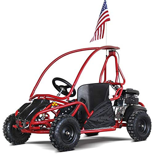 79cc 80cc Mini Go Kart Kids Go Karts Gas Powered Full Roll Cage Off Road 4 Wheels Adjustable Seat (Red) (Go Karts With Car Bodies For Sale)