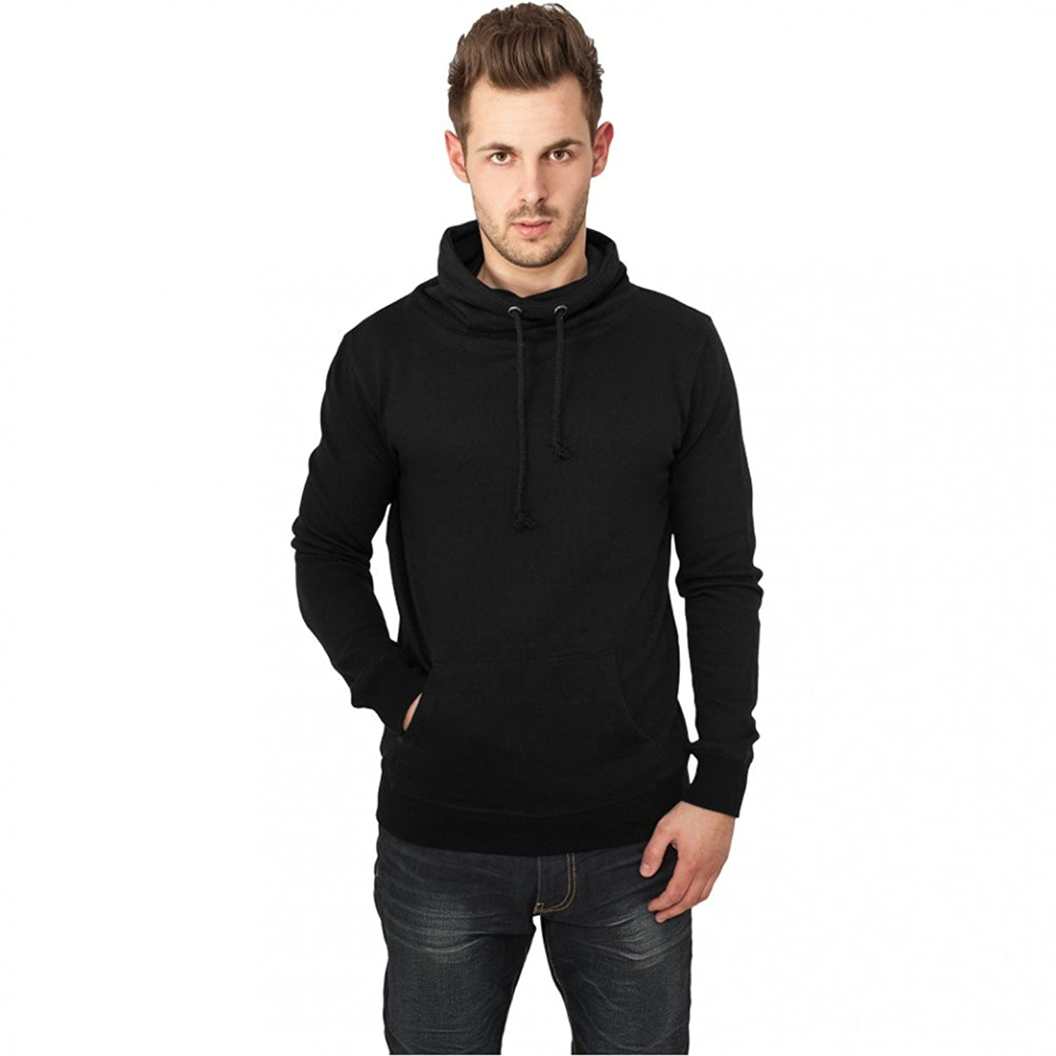 Urban Classics Melange High Neck Knitted Crew Sweatshirt grey-black