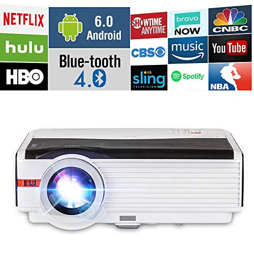 5000 Lumens HDMI Bluetooth WiFi LCD Projector Outdoor Backyard Movie Proyector n Support Wuxga 1080P, Android OS WirelessLED Projector for iPhone Airplay Apps Laptop Game Consoles DVD Home Theater