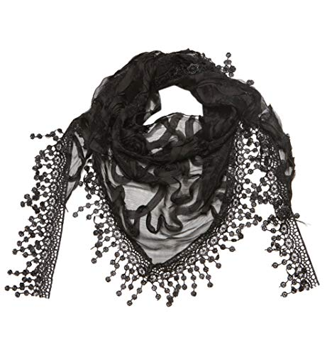 Cindy and Wendy Lightweight Triangle Floral Fashion Lace Fringe Scarf Wrap for Women -