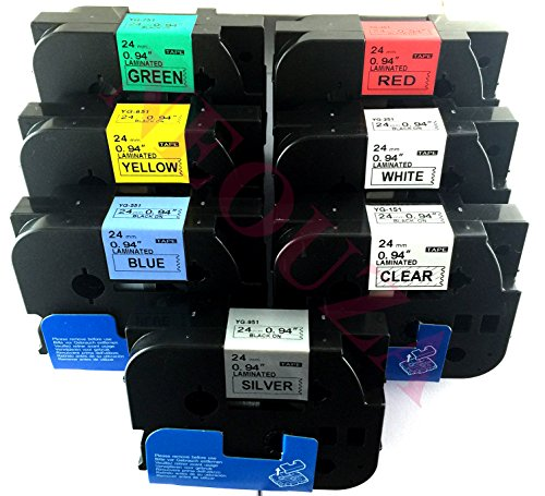 NEOUZA 5PK Compatible For Brother P-Touch Laminated Tze TZ Label Tape Cartridge 24mm x 8m (Set of 7 Different ()