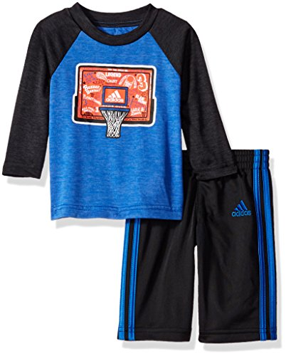 Adidas Baby Boys' Long Sleeve Tee and Legging Set, Black Heather, 24 Months