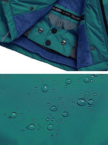 Wantdo Boy's Windproof Skiing Jacket Fleece Lined Hoodies Short Parka Rainwear(Blackish Green, 10/12) by Wantdo (Image #7)