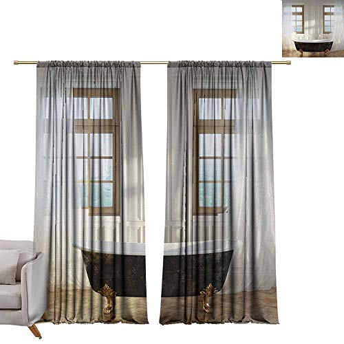 berrly Waterproof Window Curtain Antique,Retro Bathtub in Modern Room Interior Hardwood Classics Space Design,White Black Light Brown W72 x L96 Drapes for Living Room