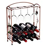 8 wine glass rack - Tabletop Wine Bottle Rack Holder Countertop Wine Glass Stemware Metal Rack 8 Wine Bottles 4 Wine Storage Holder Display Stand