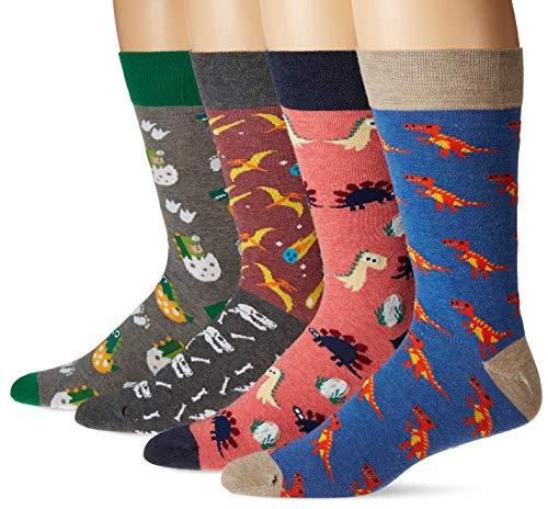 (4 pack) Fun Dino Socks Gift Pack for Men and Women - Crazy Novelty Dinosaur Crew Socks - Premium Cotton ()