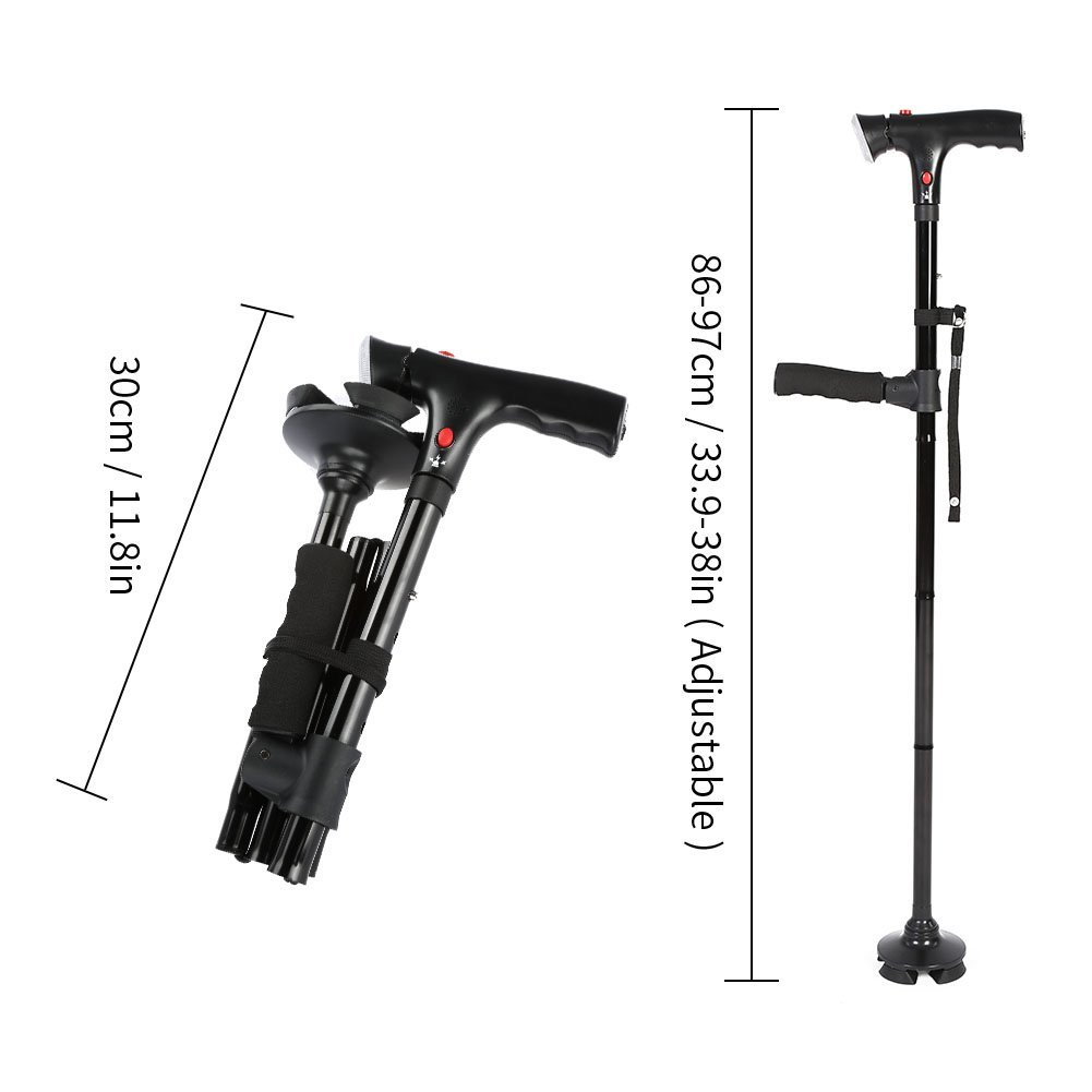 Walking Cane, Professional Folding Safety Walking Cane Adjustable Twin Grip Walking Stick with LED Light and Pivoting Quad Base for Old Gentleman or Lady(Black)