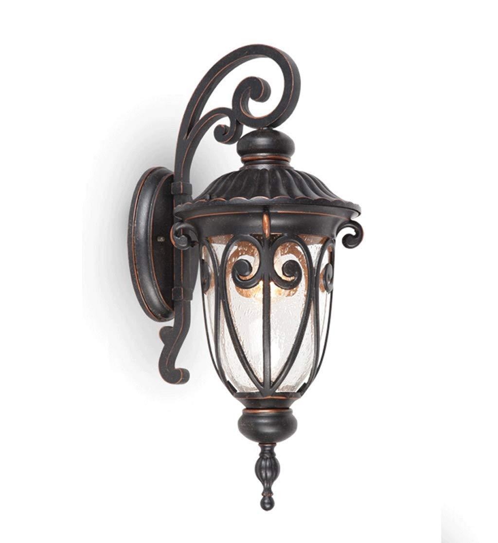 Lampada da Parete Esterna Alimentata a Parete In Alluminio Vintage Lanterna LED Lampada Percorso Impermeabile per Esterni a Parete Villa Garden Pathway Portico 9W E27 Nero