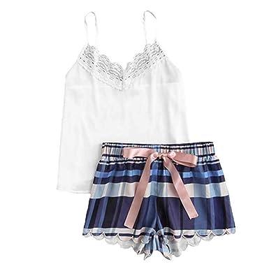 Malloom Pijamas de Mujer Sexy Pijamas de Mujer Verano Conjunto de Pijama y Ropa Interior a Cuadros de Encaje de Mujer: Amazon.es: Ropa y accesorios