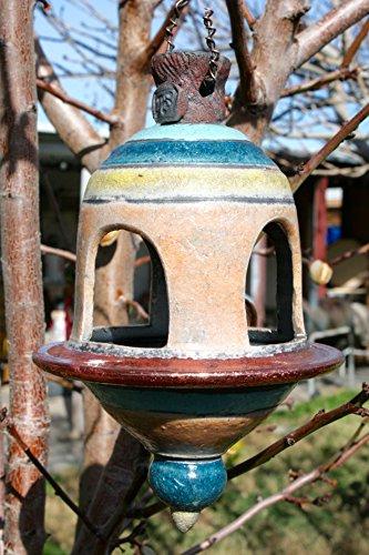 Handmade Orange Bird feeder #15, Metallic Ceramic Raku Birdfeeder, Garden Lantern, Patio Decor